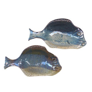 Handmade Glazed Clay Ceramic Fish Bowls - A Pair