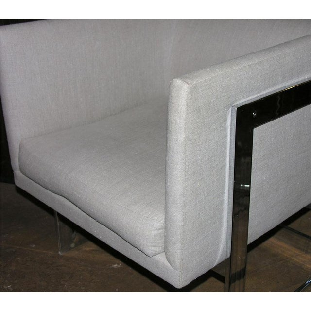 1970s Milo Baughman for Thayer Coggin Floating Cube Club Chairs - a Pair For Sale - Image 5 of 5