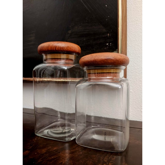 1970s Danish Modern Teak Lidded Storage Jars, Set of 2 For Sale - Image 5 of 8