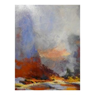 """Azure & Crimson"" Vibrant Rolling Hillside Expressionist Oil Painting For Sale"