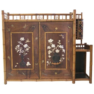 1900 Bamboo Lacquer Mother-Of-Pearl Inlay and Bronze Subjects Cabinet
