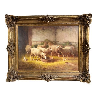 19th Century French Oil on Canvas Sheep Painting in Gilt Frame Signed J. Ramet For Sale