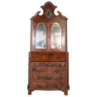 20th Century Italian Louis XIV Style Trumeau, Secretaire in Walnut and Burl For Sale