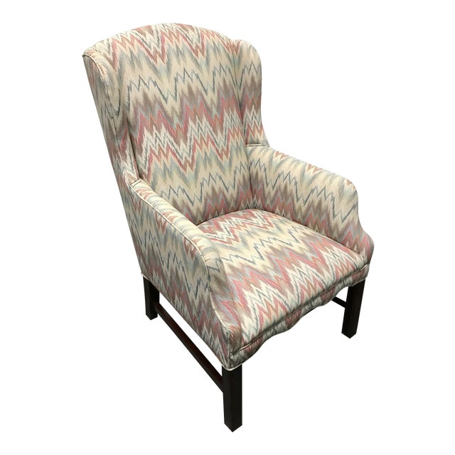 Mahogany Chippendale Flame Stitch Wing Chair For Sale