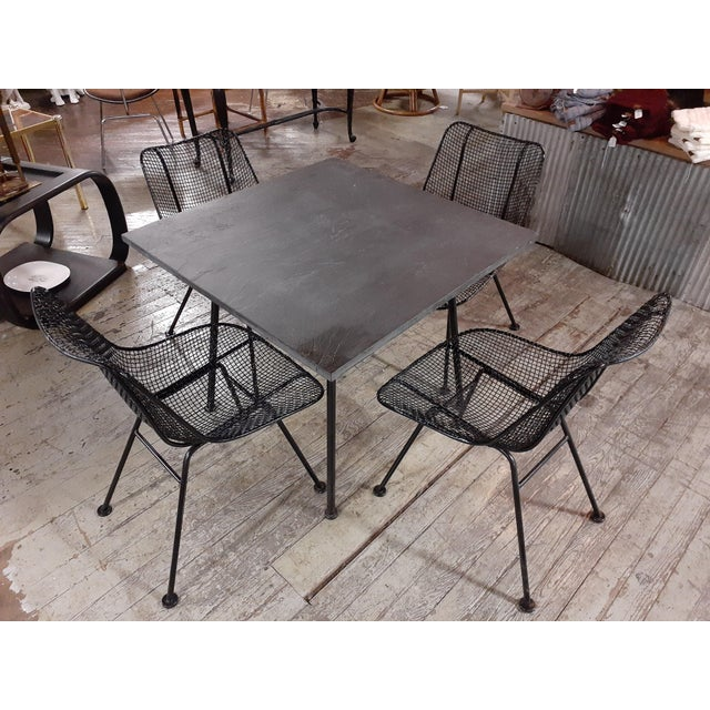 Black 1960s Mid-Century Modern Outdoor Slate Dining Table With Four Sculptura Chairs by Russel Woodard - 5 Pieces For Sale - Image 8 of 9