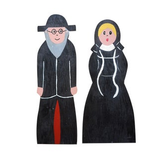 A Pair-Vintage Signed/Dated Original Wood Sculptures-Amish Man &Woman-1984 For Sale