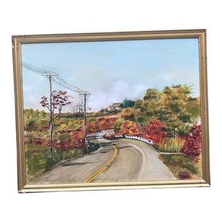 Vintage Mid-Century Virginia Piedmont, Early Autumn Original Oil on Canvas Painting For Sale