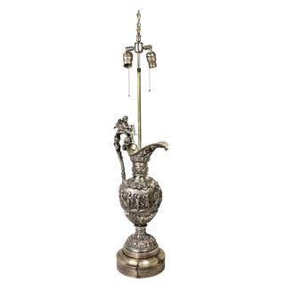French Silvered Bronze Ewer Table Lamp Retailed by Tiffany For Sale