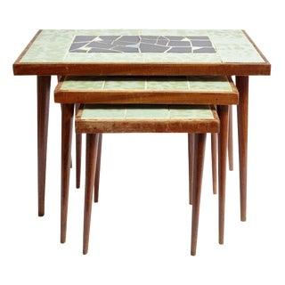 Vintage Mid-Century Modern Mosaic Nesting Tables - Set of 3