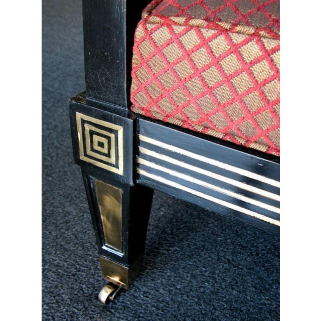 Neoclassical Boldly Scaled Russian Neoclassical Style Black Lacquer Armchair w Brass Inlay For Sale - Image 3 of 6