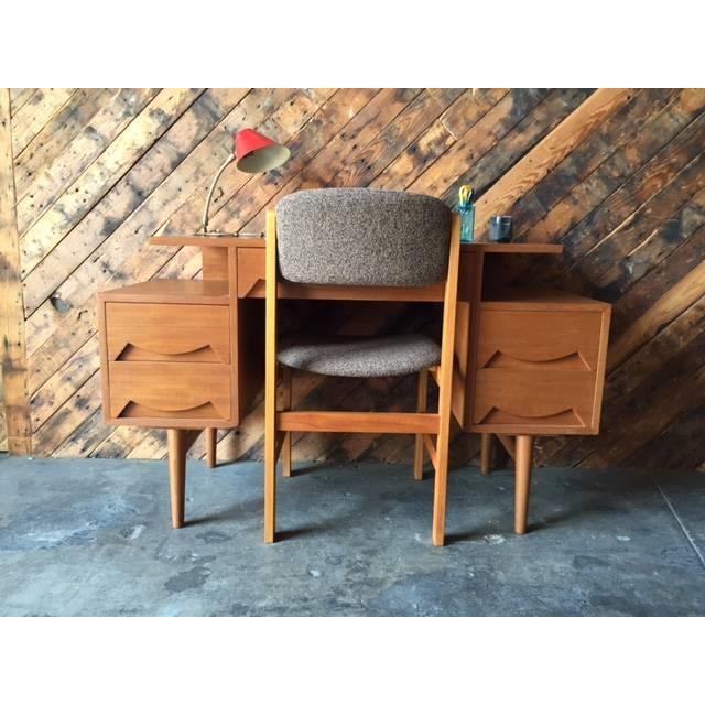 Mid Century Refinished Teak Sculpted Drawer Desk - Image 5 of 6