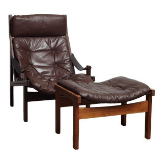 1960s Vintage Torbjorn Afdal, Hunter Chair & Ottoman For Sale