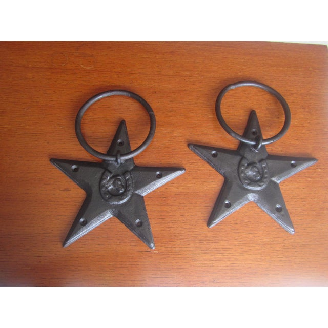 Vintage Cast Iron Western Horse Tie Rings - A Pair - Image 2 of 7