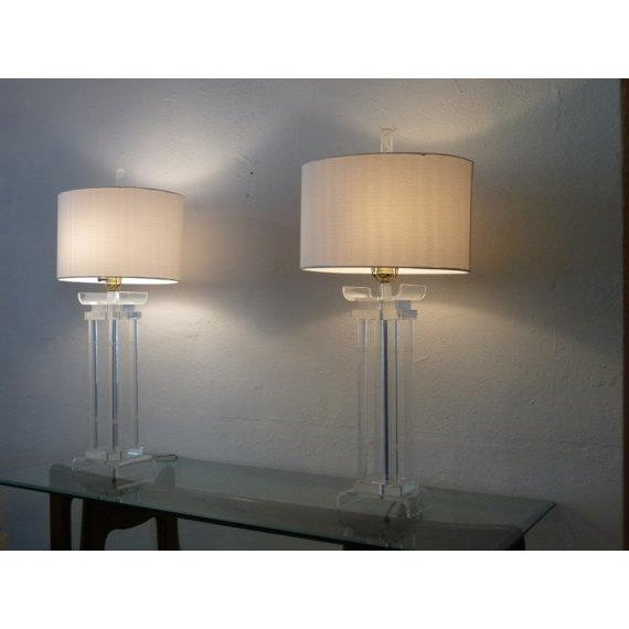 Asian Style Lucite Lamps - Pair - Image 4 of 6