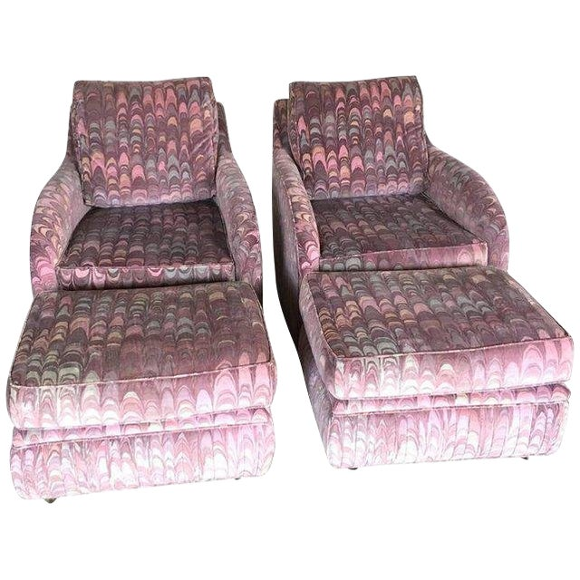 Clyde Pearson Chairs and Ottomans in Jack Lenor Larsen Fabric - Set of 4 For Sale