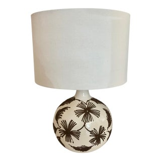 Ceramic Table Lamp With Relief Flowers For Sale