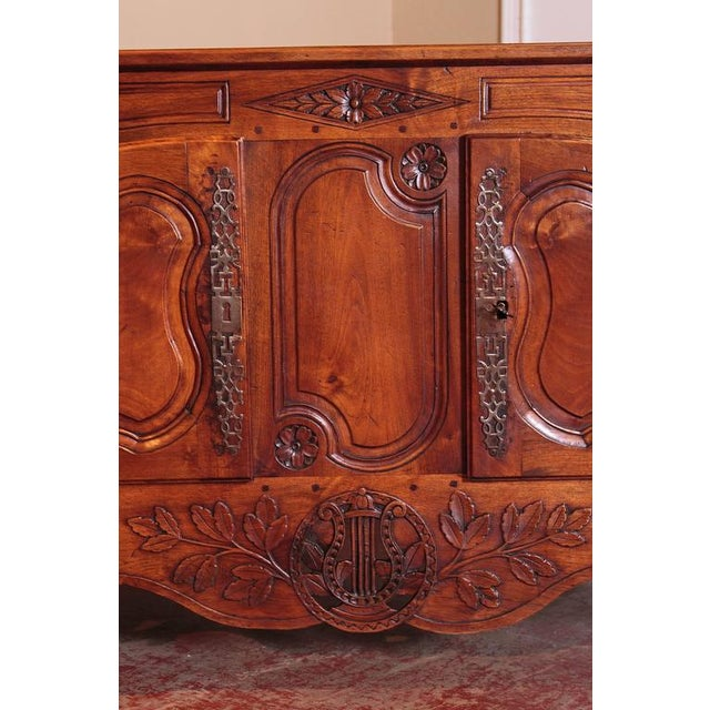 18th Century French Louis XV Carved Walnut Two-Door Buffet from Provence For Sale - Image 9 of 10