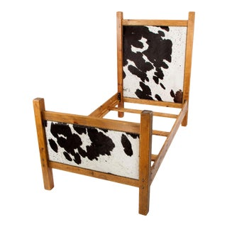 Black and White Cowhide Twin Bed Frame For Sale
