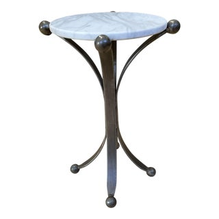 New Restoration Hardware Jack Marble + Iron Side Table - Small For Sale