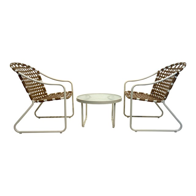 Mid Century Modern Brown Jordan Off White and Brown Patio Furniture-Set of 3 For Sale