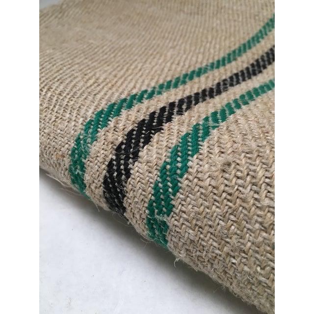 Vintage Green Stripe European Grain Sack - Image 3 of 7