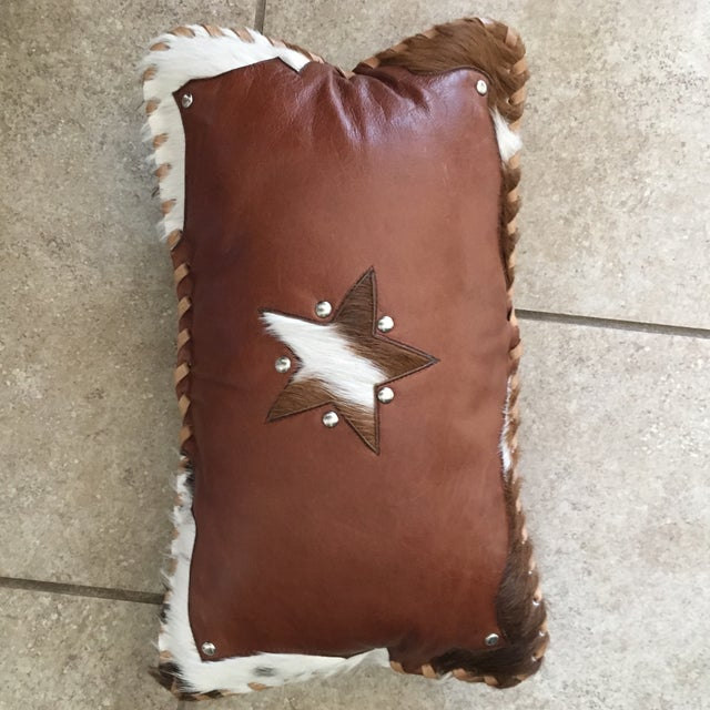 Handmade Leather & Cowhide Lumbar Texas Pillow For Sale - Image 9 of 11