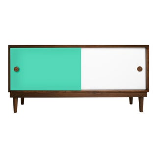 Lukka Modern Kids Credenza Console in Walnut With Mint Finish For Sale