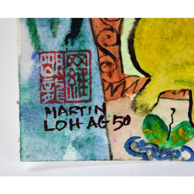 """1980s Original """"Young & Pretty"""" Mixed Media Painting by Martin Loh For Sale - Image 5 of 10"""