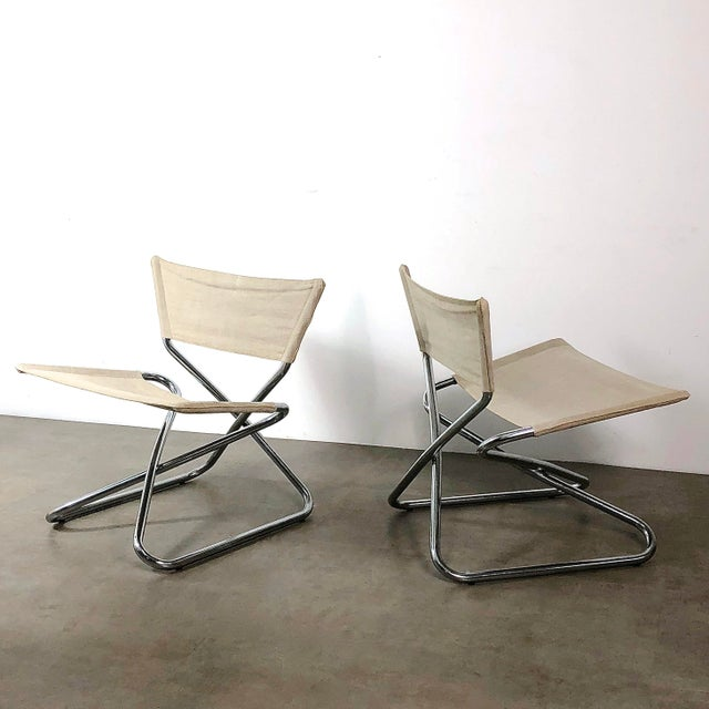 White 1960s Erik Magnussen Chrome Sling Z Down Chairs - a Pair For Sale - Image 8 of 8