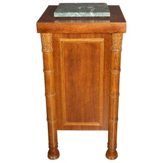 Art Deco Hand Rubbed Oak Pedestal With Exotic Green Rotating Marble Top For Sale