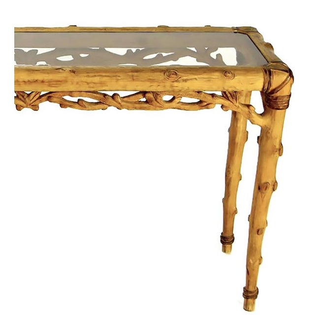 Faux Bois Carved Wood and Glass Console Table For Sale In Chicago - Image 6 of 10