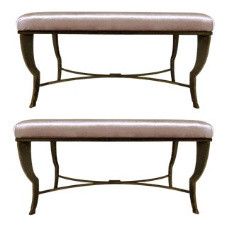 Vintage Brutalist Benches With Patinated Bronze Legs - a Pair For Sale