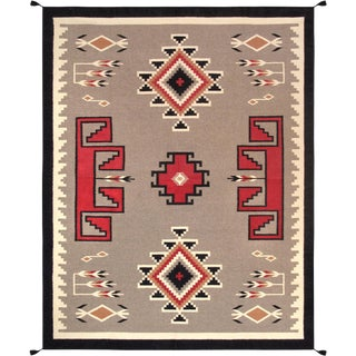 Navajo Style Wool Area Rug - 7′11″ × 10′ For Sale