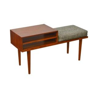 George Petersens Mobelfabrik Danish Modern Teak Telephone Table Bench