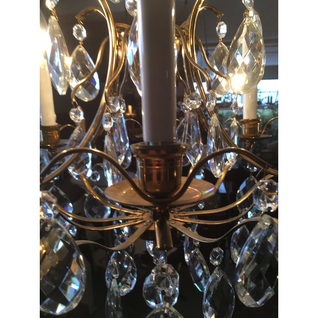 Brass Mid Century Solid Brass Crystal Marie Therese Style French Chandelier 1950s/60s For Sale - Image 8 of 13