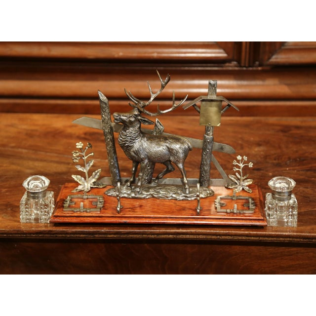 Mid 20th Century Mid 20th Century French Spelter and Cut Glass Inkwell With Deer Sculpture For Sale - Image 5 of 10