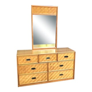 Campaign Dixie Furniture Maple Wicker-Front Dresser W/ Mirror For Sale
