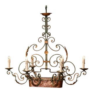 Early 20th Century Six-Light Iron Chandelier With Center Copper Jardinière For Sale