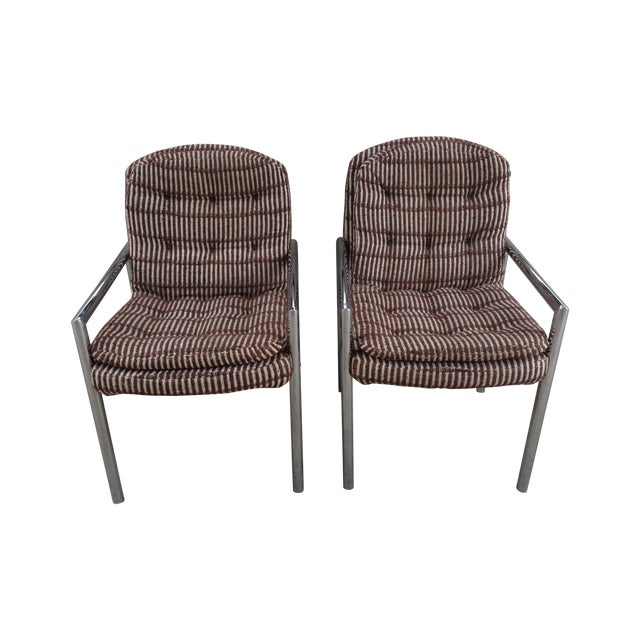 Chrome Upholstered Armchairs - a Pair For Sale