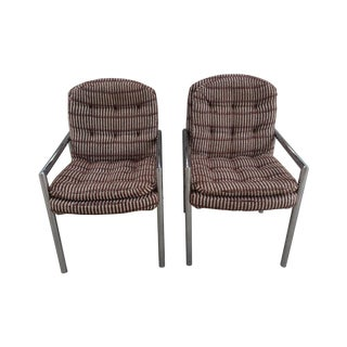 Mid-Century Chrome Upholstered Armchairs - A Pair For Sale