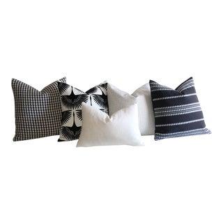 Ebony & Ivory Belgian Linen Pillows - Set of 5
