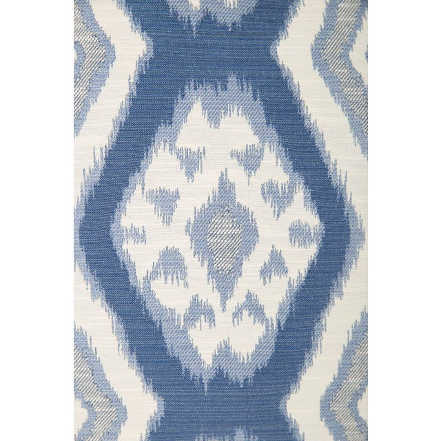 Custom Blue & Ivory Ikat Pattern Pillows - A Pair - Image 3 of 4