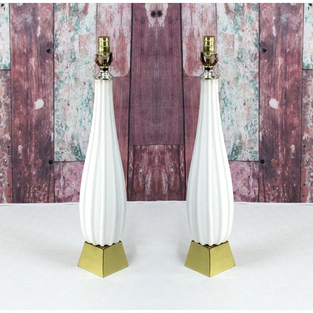 Pair of Plaster Table Lamps on Brass Bases For Sale In Miami - Image 6 of 6