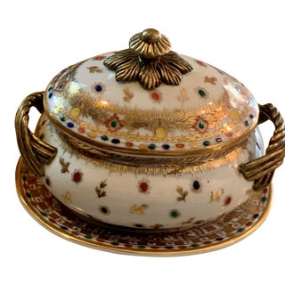 Miniature Brass and Porcelain Tureen With Matching Tray - Set of 2 For Sale
