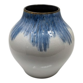 Gold Rimmed Blue and White Vase