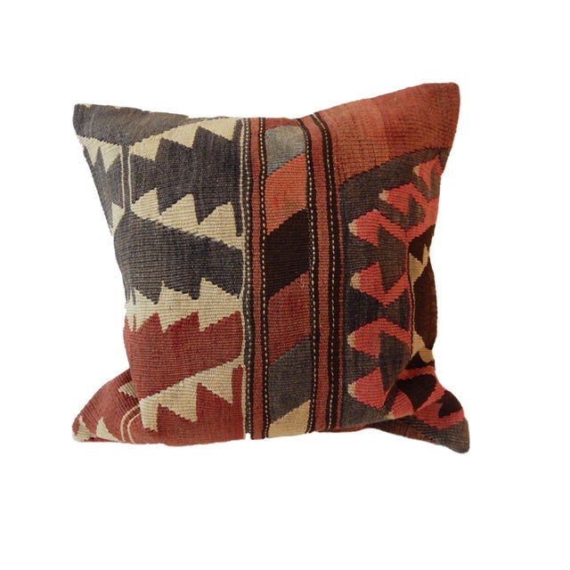 Old Caucasian Tribal Kilim Pillow - Image 5 of 9