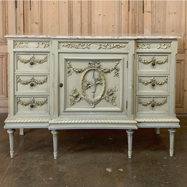 Early 20th Century Antique Italian Louis XVI Painted Dresser ~ Linen Press For Sale - Image 5 of 13