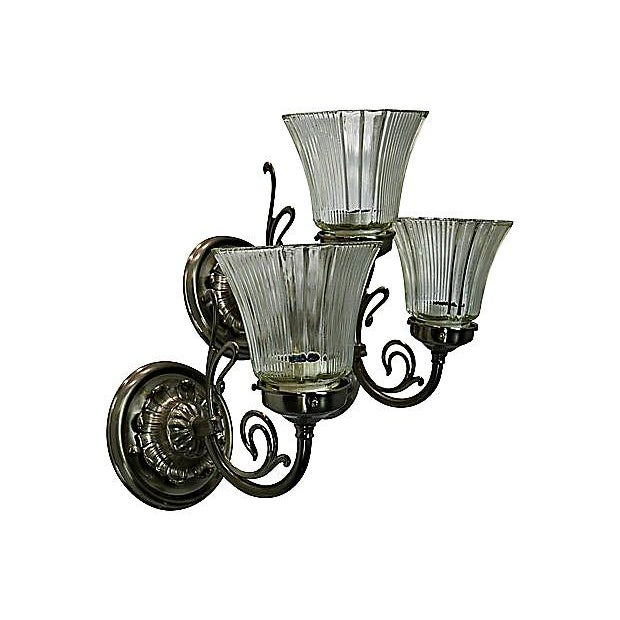 White Brass Sconces - Set of 3 - Image 6 of 7