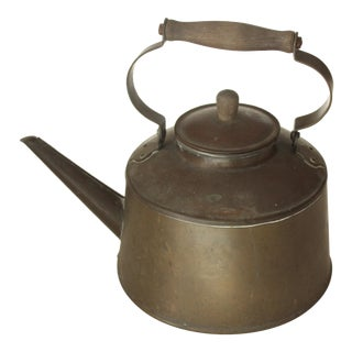 Antique Brass Tea Kettle With Wooden Handle For Sale