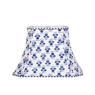 Blue and White Floral Block Print Lamp Shade For Sale